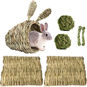 Rabbits Grass House with 2pcs Woven Bed Mat, Bunny Hideaway HutHand Woven Bedding Nest Bunny Chew Grass Ball Toys for Rabbit BunnyGuinea Pig Hamster Chinchilla