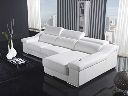VIG Furniture VGYIT136C WHT Divani Casa T136C   Modern Leather Sectional