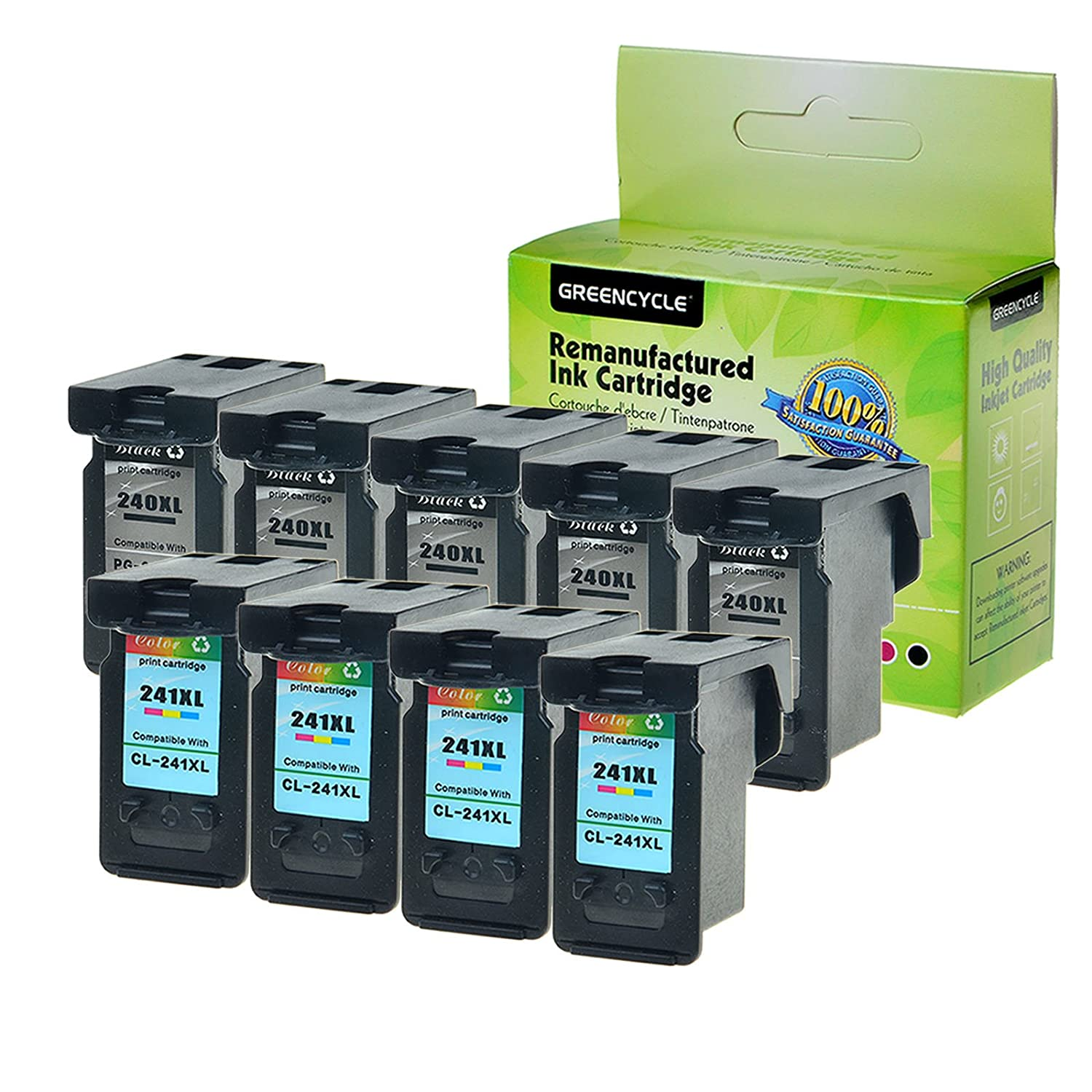 Greencycle 9pk Remanufactured for Canon PG - 240 X L XL 240 CL - 241 X L 241 XLインクカートリッジ高Yield for Pixma mg3620 mg3520 mg4220 mg3220 mg2220 mx392 mx432 mx452 mx472 mx512 mg3522 5ブラック4 3色 B07FF51SY4