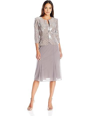 01ce77b8953 Alex Evenings Women s Tea Length Mock Dress with Sequin Jacket (Petite and  Regular Sizes)