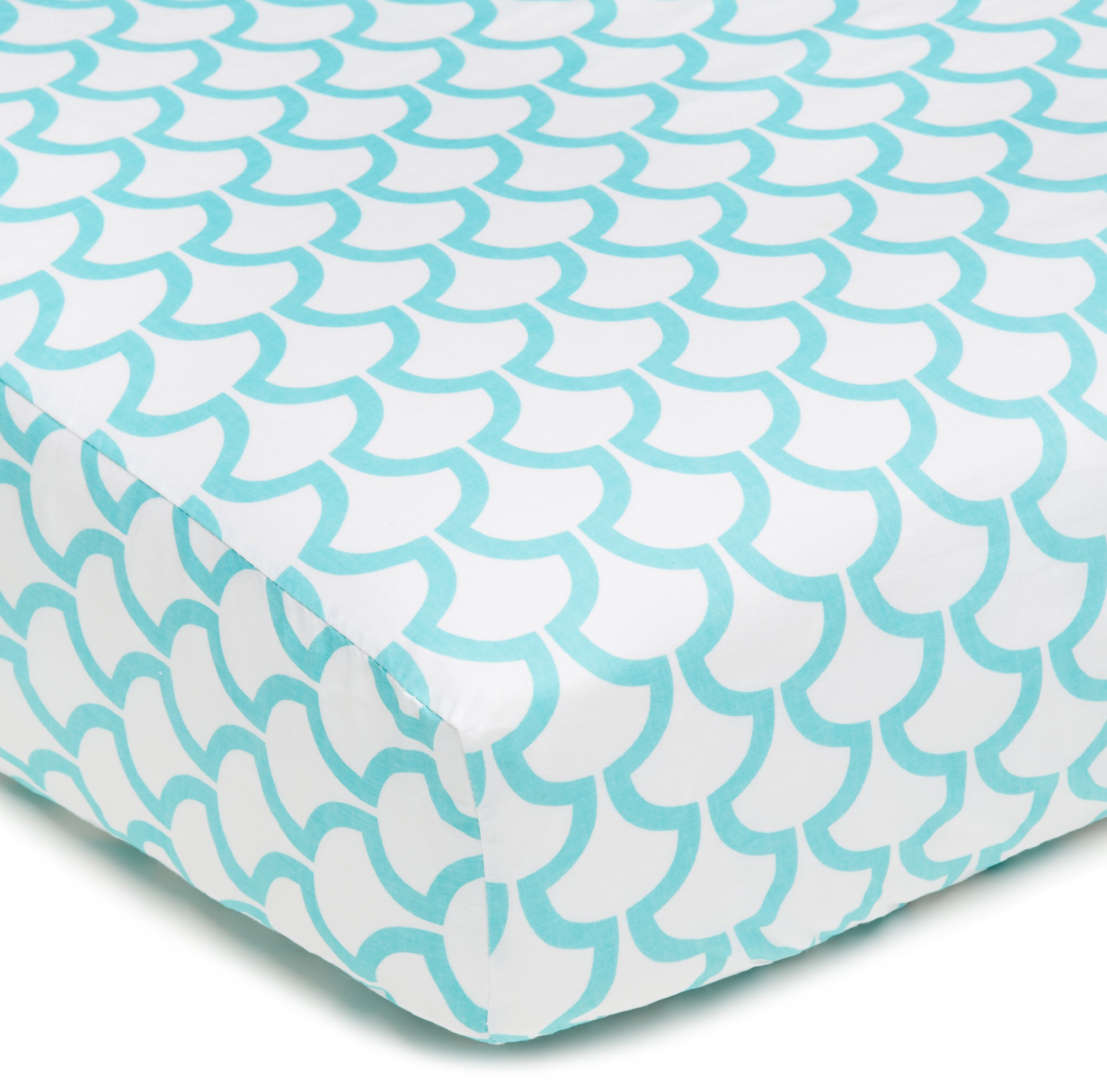 American Baby Company 100% Cotton Percale Fitted Crib Sheet for Standard Crib and Toddler Mattresses, Aqua Sea Waves