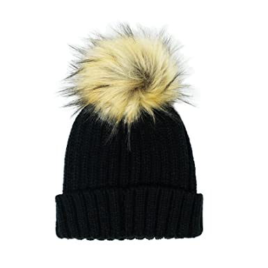 c3d923a1885 PULI Womens Girls Winter Hat Wool Knitted Beanie With Large Faux Fur Pom  Pom Cap Ski Snowboard Hats Bobble  Amazon.co.uk  Clothing