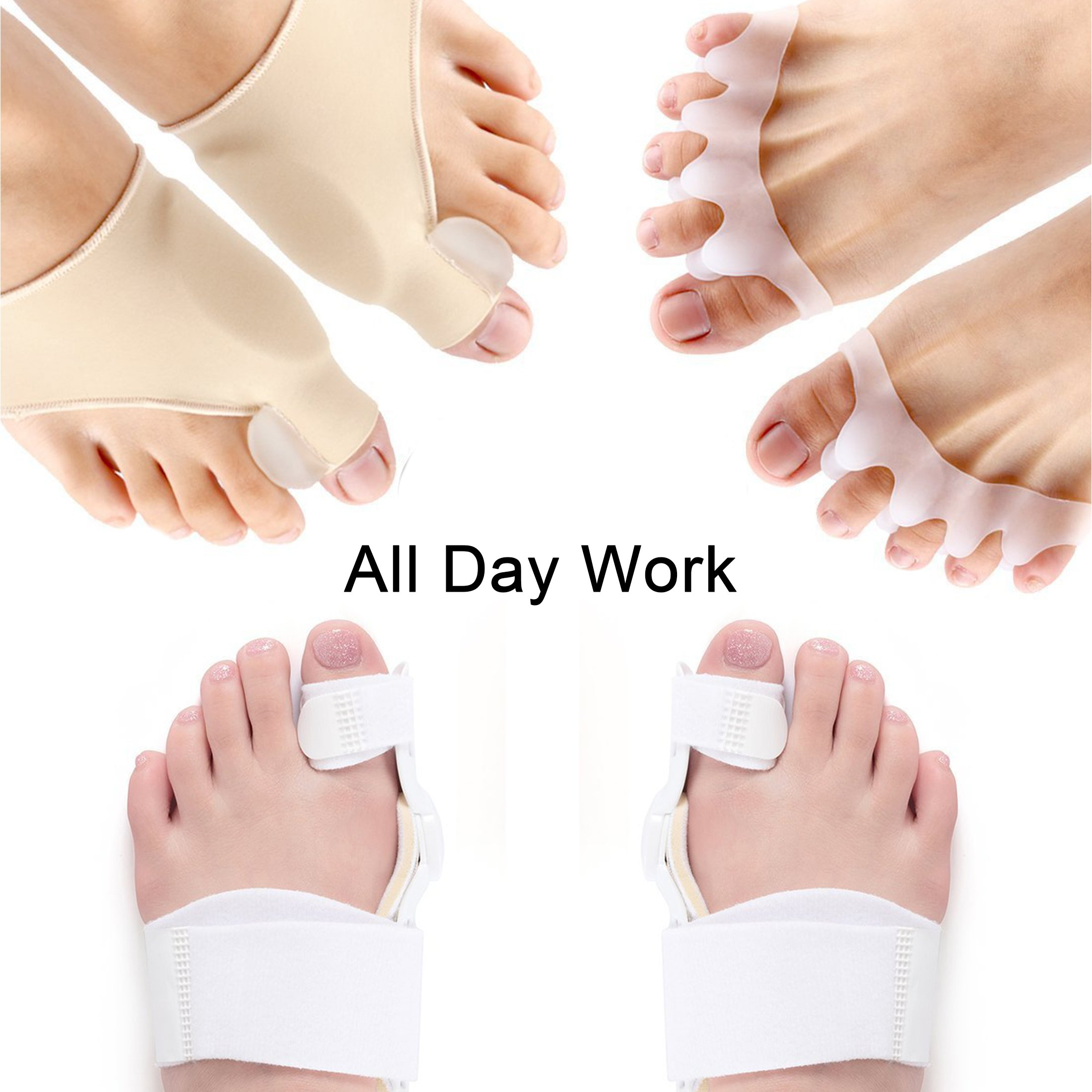Gel Toe Separator,3 in 1 Toe Spacers Rubber Toe Stretchers Used for Sports Activities, Yoga Practice & Running for Men and Women Bunion Pain Relief Toe Straightener Achilles Stretcher