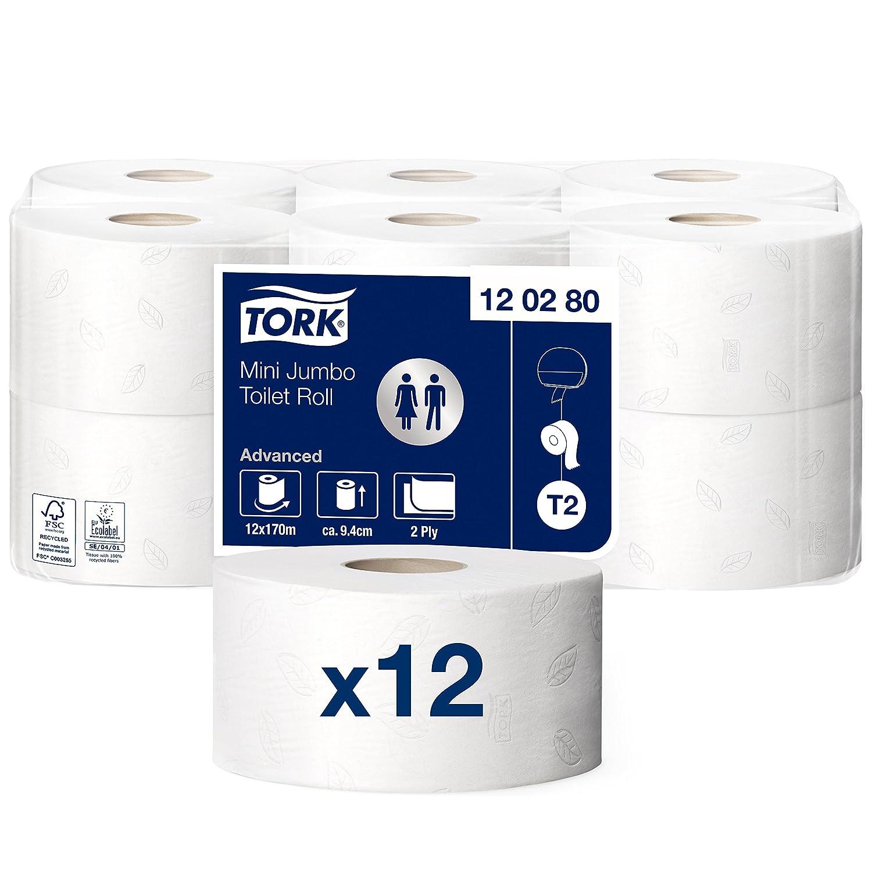 Tork 620283 Rotoli Carta Igienica Mini Jumbo Soft Premium, 2 Veli, Sistema T2, Bianco, 170 M, 2 Rotoli SCA