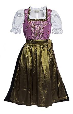 b81eabb17badbb Midi Dirndl lila mit Blumen bestickt, dunkegrüne Schürze und weiss  bestickte Bluse 3 tlg Größe 36: Amazon.de: Bekleidung