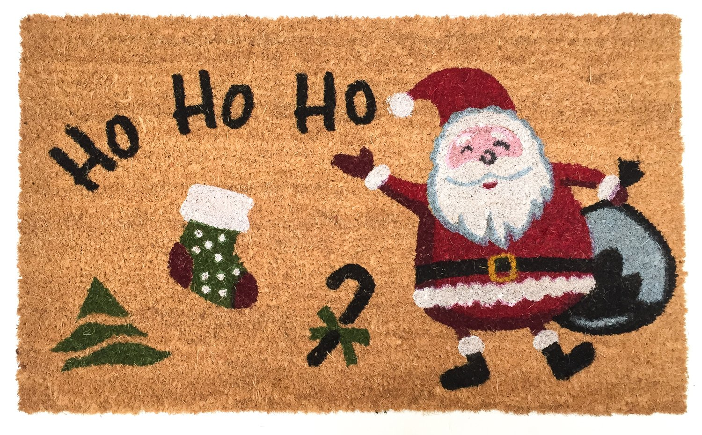 J&M Home Fashions Natural Coir Coco Fiber Non-Slip Outdoor/Indoor Christmas Doormat, 18x30'', Heavy Duty Entry Way Shoes Scraper Patio Rug Dirt Debris Mud Trapper Waterproof-Santa Ho Ho Ho