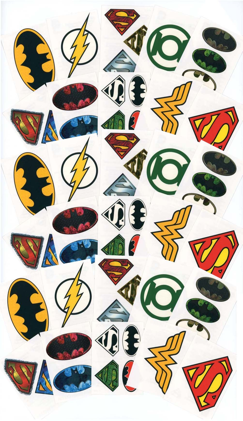 Large DC Comics Logo Temporary Tattoos for Party Favors / Party Activity - 30 Individual Sheets - Featuring Superman, Batman, Wonder Woman, Green Lantern and The Flash