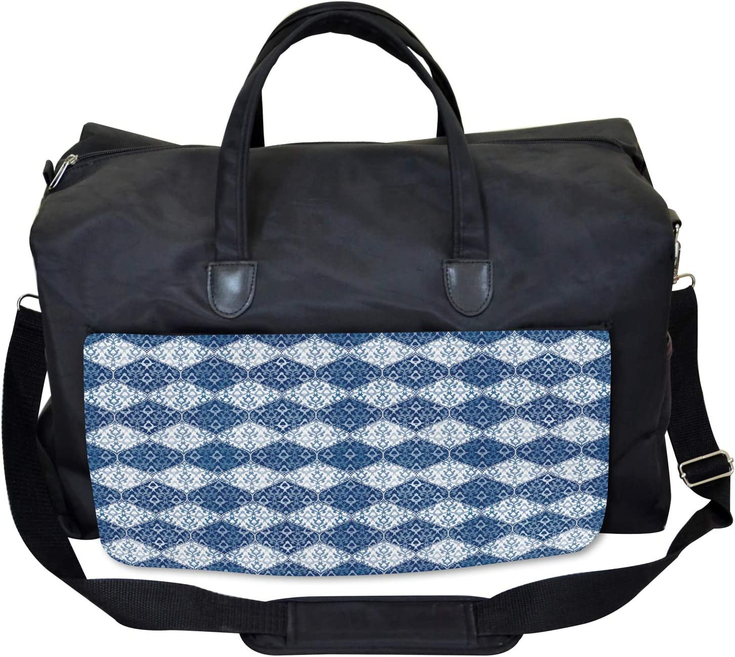 Oriental Patchwork Asian Large Weekender Carry-on Ambesonne Navy Gym Bag