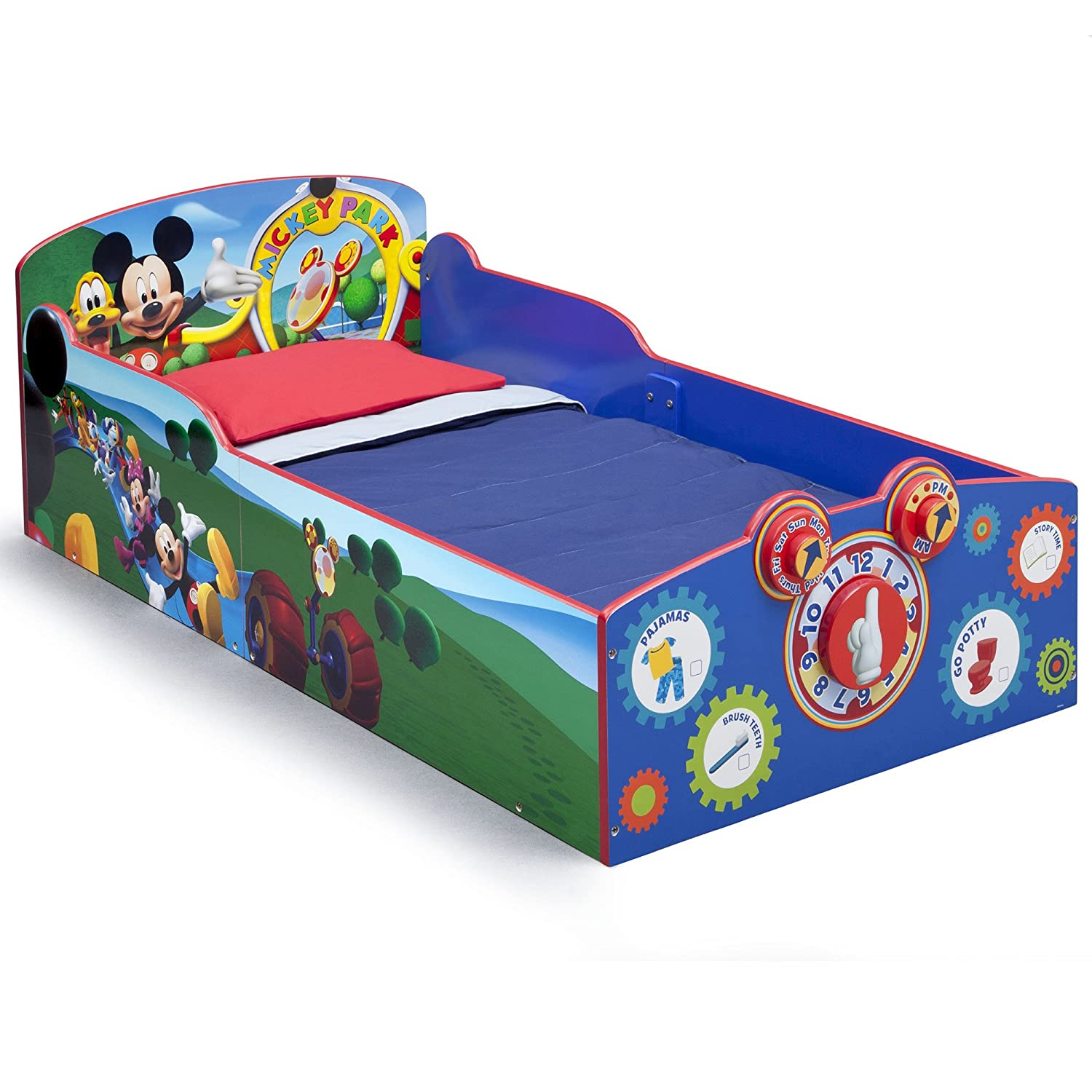 Delta Children Interactive Wood Toddler Bed, Disney Minnie Mouse with Twinkle Stars Crib & Toddler Mattress