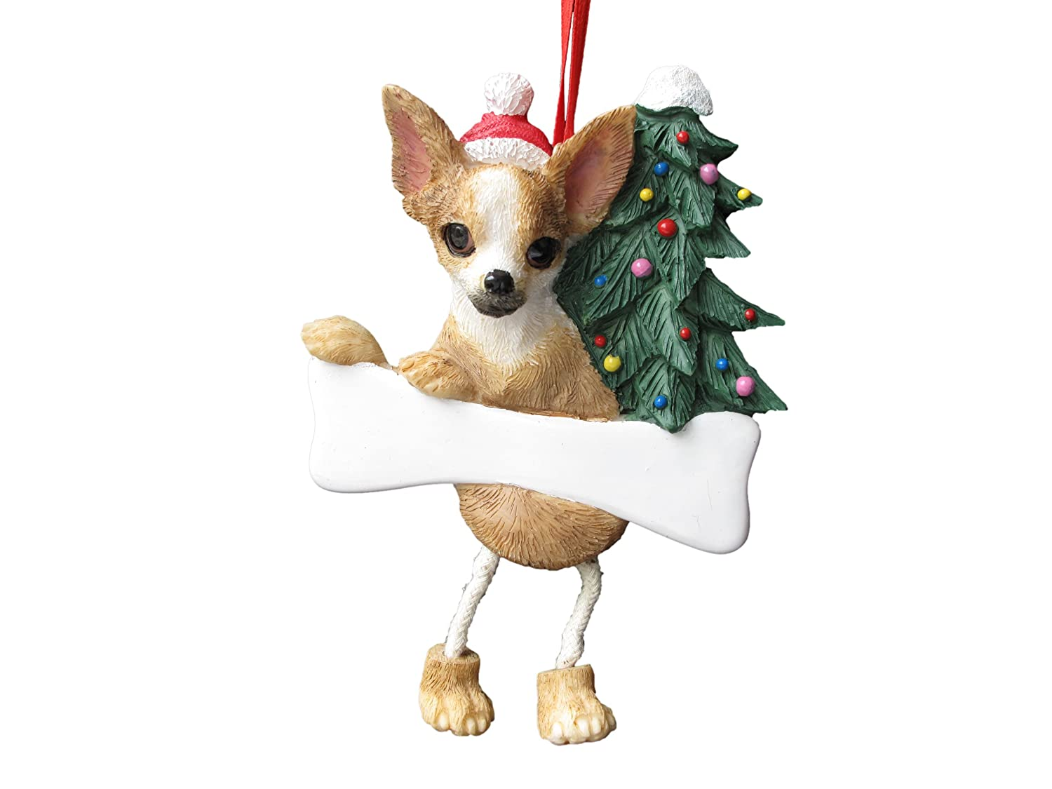 chihuahua 'dangling leg' christmas ornament