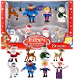 Rudolph the Red-Nosed Reindeer Figurine Set- 8pc Set Including 2 Figures of Rudolph Yukon Cornelius Hermey Bumble the…