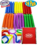 Matty's Toy Stop Pull 'N Pop Multi-color Tubes (Toobs) with Storage Bag - 24 Pack