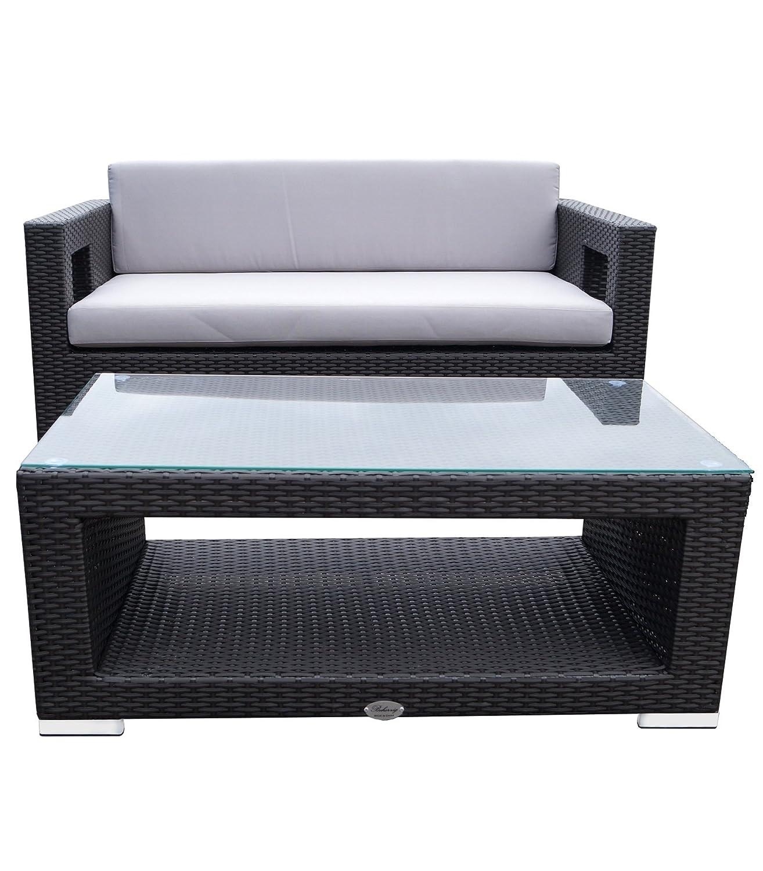 Rattan Lounge Set Polyrattan Gartenmöbel Garnitur Sofa Kantiges