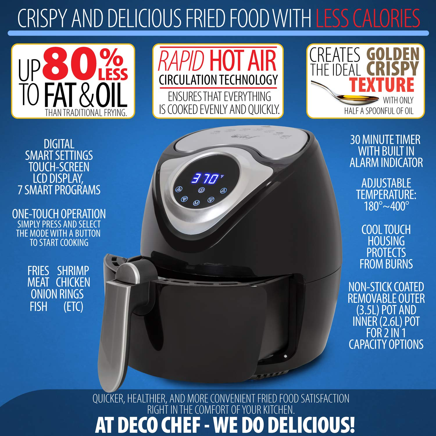 Deco Chef XL 3.7 QT Digital Air Fryer with 7 Smart Programs LCD Touch Screen Oil-Less Non-Stick Coated Countertop Healthy Kitchen Safe Frying Station