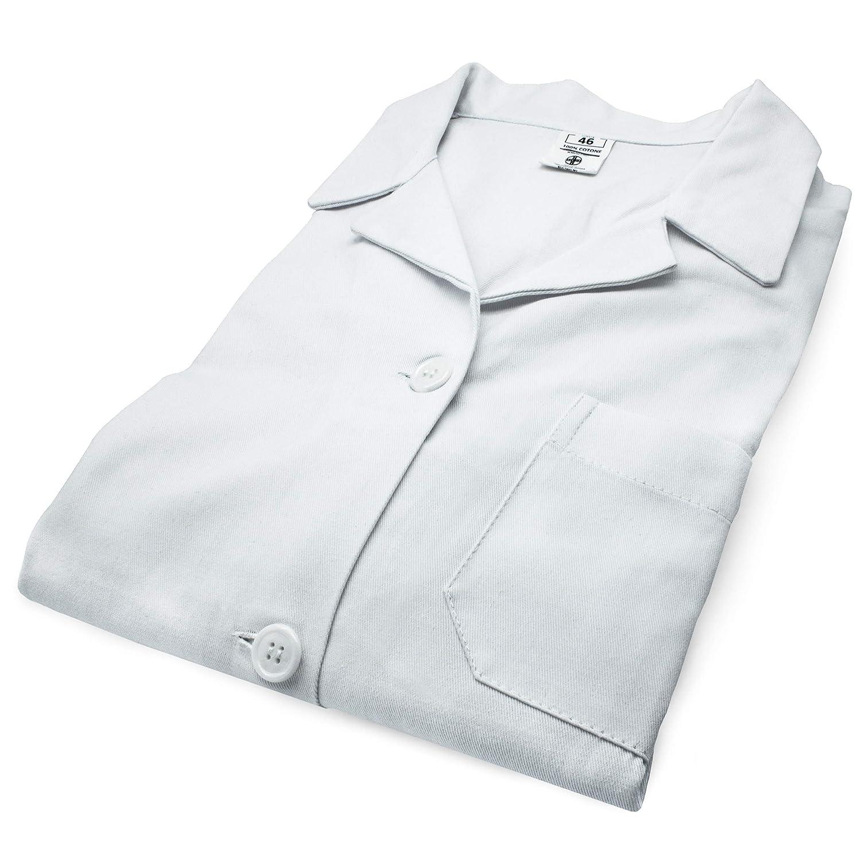 AIESI Bata de Laboratorio Medico para Mujer blanco de algod/ón 100/% sanforizado MADE IN ITALY talla 44