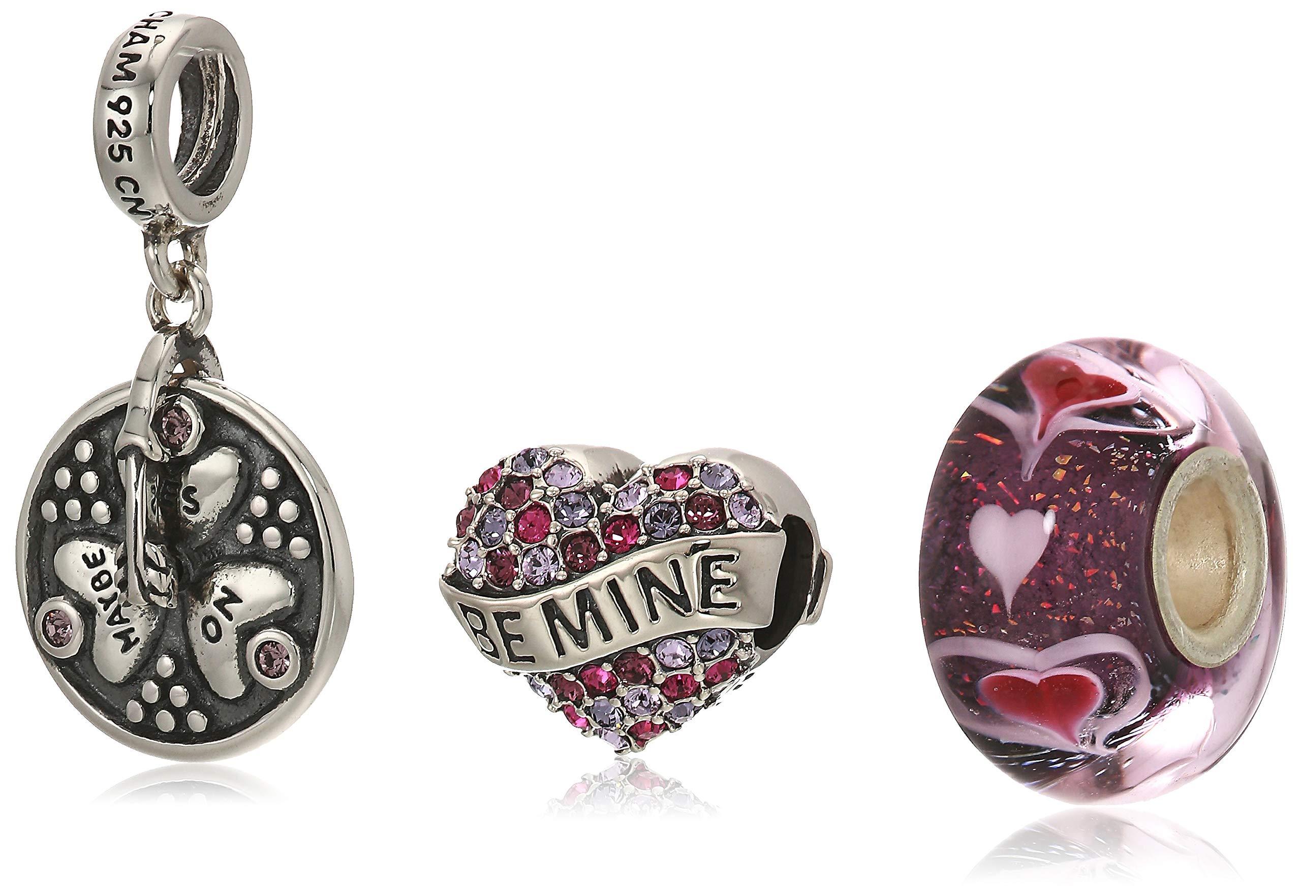 Chamilia Women's Yes? No? Maybe? Charm Gift Set Multi Swarovski Crystal and Murano Glass, Multi, One Size