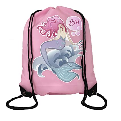BabySmiles – Mochila Nueva sirena tema cordón bolsa de natación, la escuela, PE para