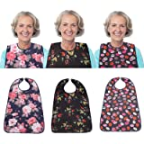 """3 Pack Adult Bib for Eating Washable Reusable Waterproof Clothing Protector with Optional Crumb Catcher 29.5"""" x 19.3"""" Women"""
