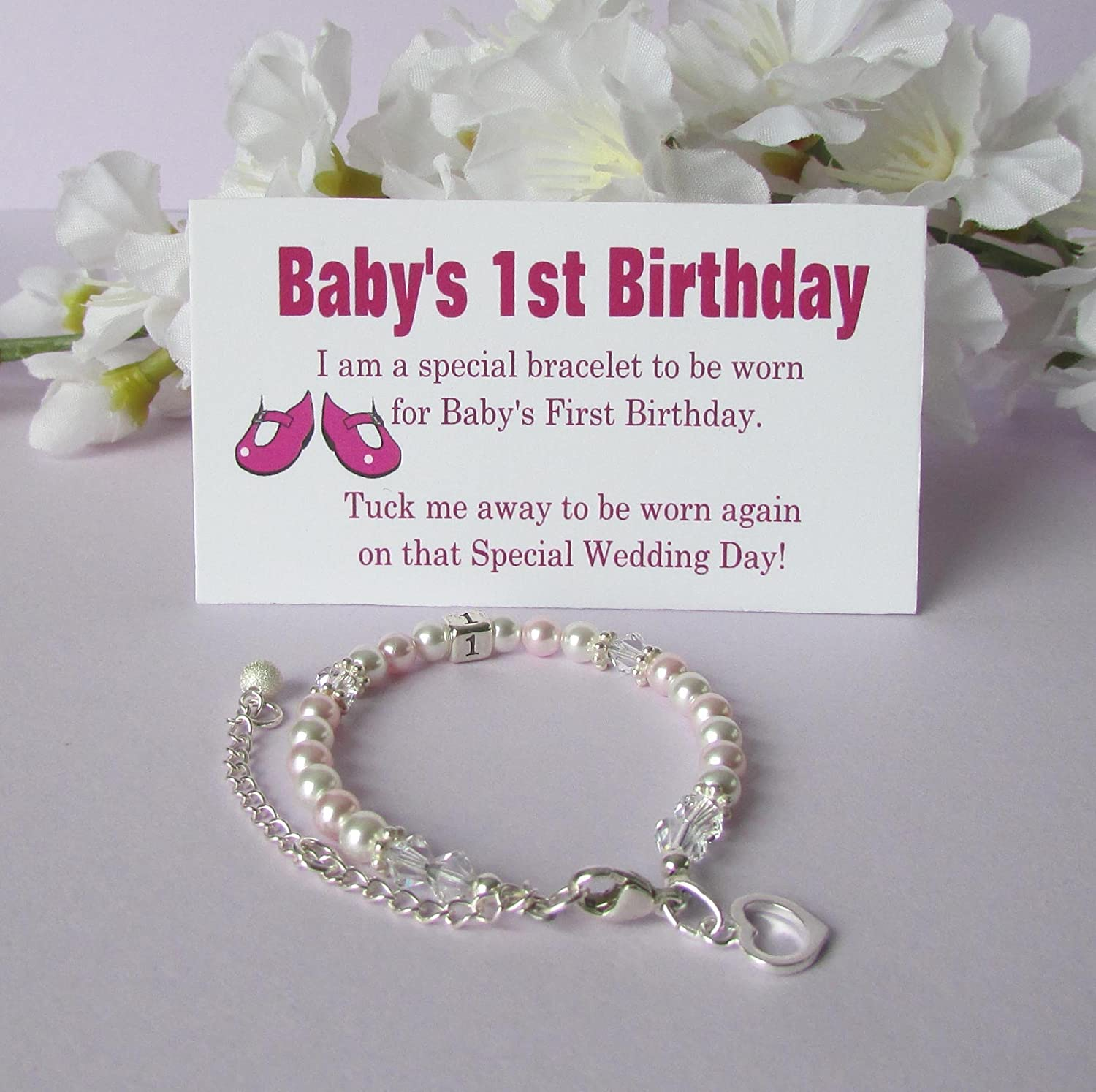 Little gils new jewellery for children first birthday gift ideas - Amazon Com Baby S 1st Birthday Gift Bracelet Baby To Bride Growing With Baby Handmade