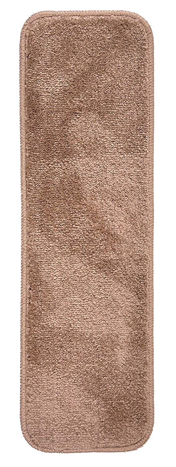 Aris Collection Stair Tread Treads Indoor 8/½ inch x 26/½ inch Machine Washable Skid Slip Resistant Carpet Stair Tread Treads Set of 13, Brown