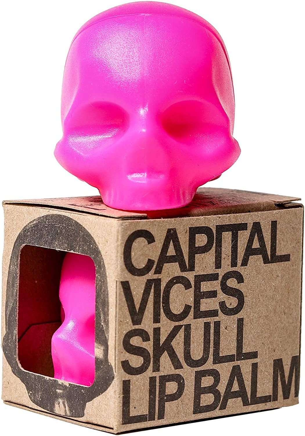 Rebels Refinery Capital Vices Skull-Shaped Lip Balm for Shine-Free Moisturizing – Mint Flavor – Vitamin E Antioxidant and Coconut & Sweet Almond Oil Extracts Nourish Chapped Lips – Pink
