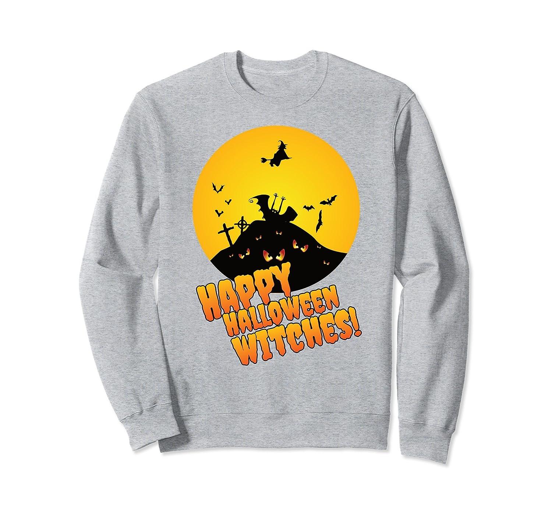 happy halloween witches funny sweatshirt mt