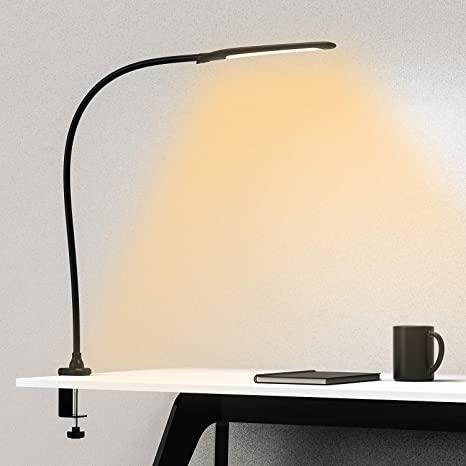 Youkoyi Desk Lamp With Clamp Swing Arm Lamp Flexible Gooseneck Architect Table Lamp Stepless Dimming 3 Color Modes Touch Control 9w 1050lux Eye Care For Study Reading Office Work Black