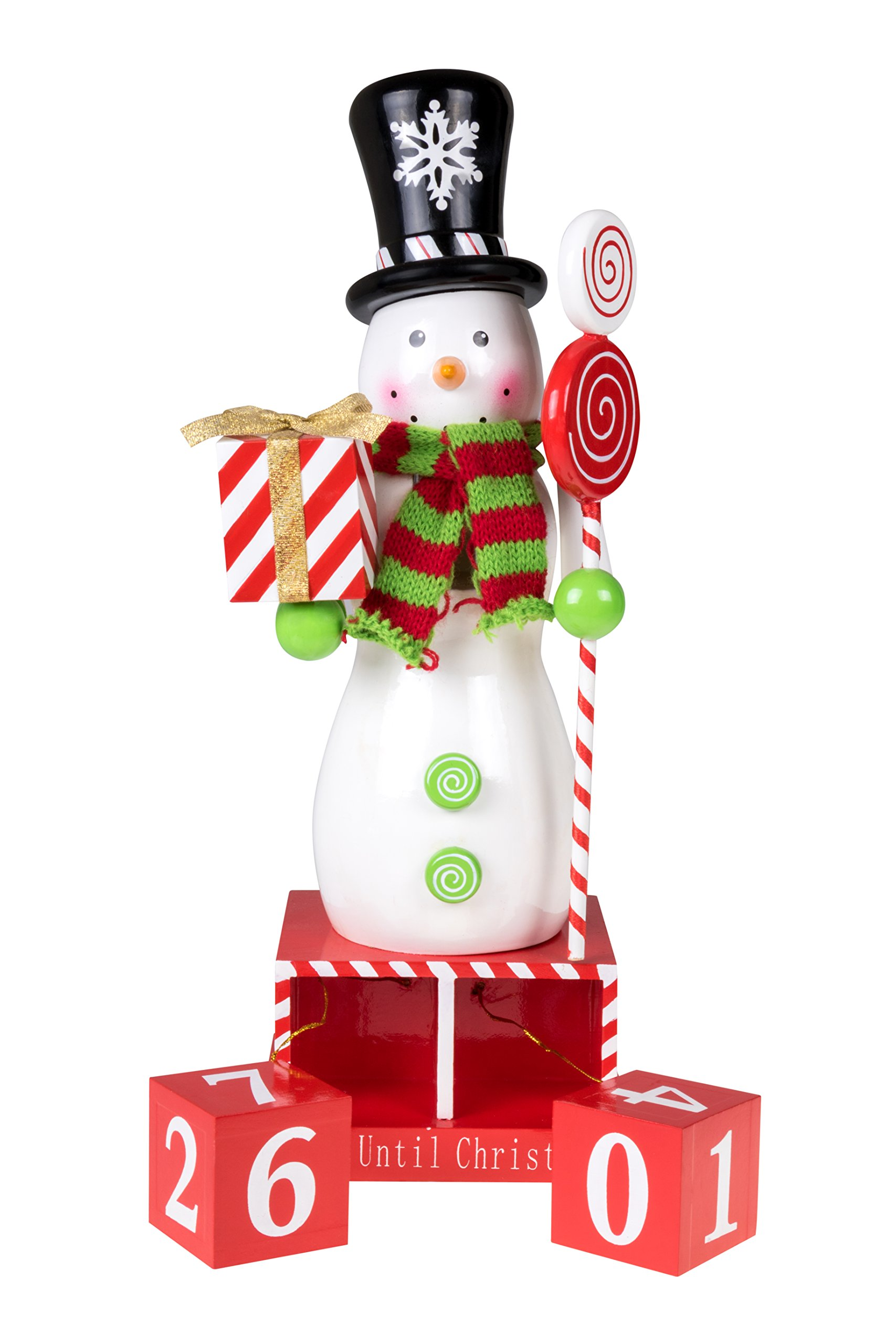 Count Down Snowman Nutcracker Christmas Advent Calendar Blocks | 100% Wood | With Top Hat, and Scarf | Holding Gift and Candy Cane Scepter | 13'' Tall | Perfect for Tables and Shelves | Holiday Décor