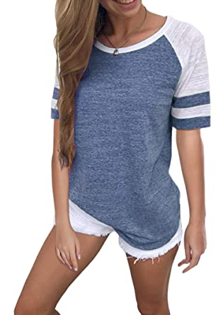 fb580a1c Yidarton Women's Color Block Short Sleeve T Shirt Casual Round Neck Tunic  Tops(Blue,