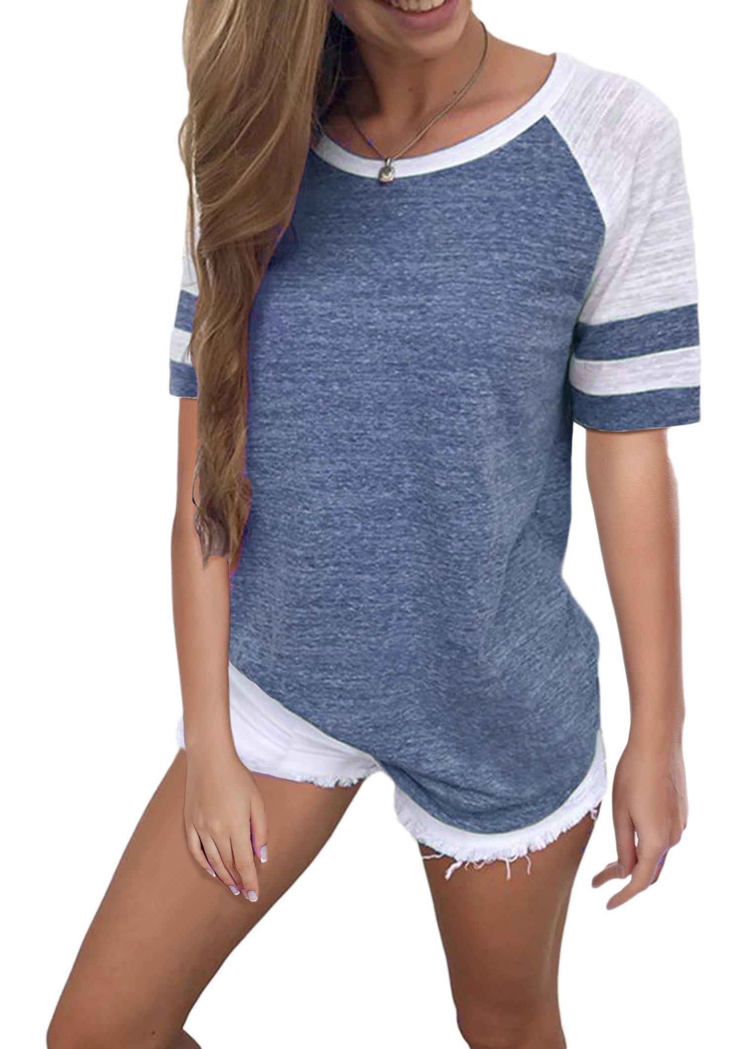 Yidarton Women's Color Block Short Sleeve T Shirt Casual Round Neck Tunic Tops(Blue,S)