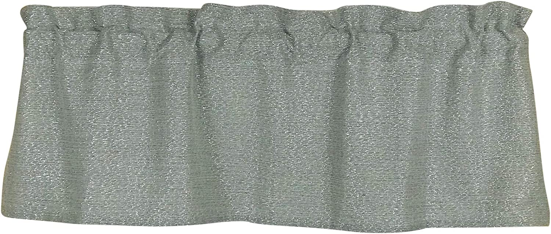 Silver Gray Valance with Metallic Threading for Windows (Stone Grey)