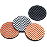 Flox 'Chevron in Tangerine' Rubber Coasters