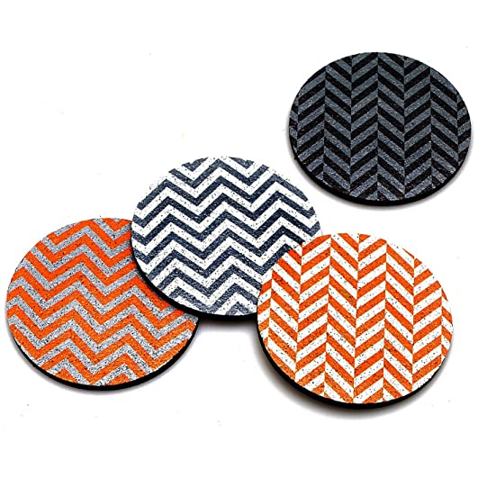 Flox 'Chevron in Tangerine' Rubber Coasters