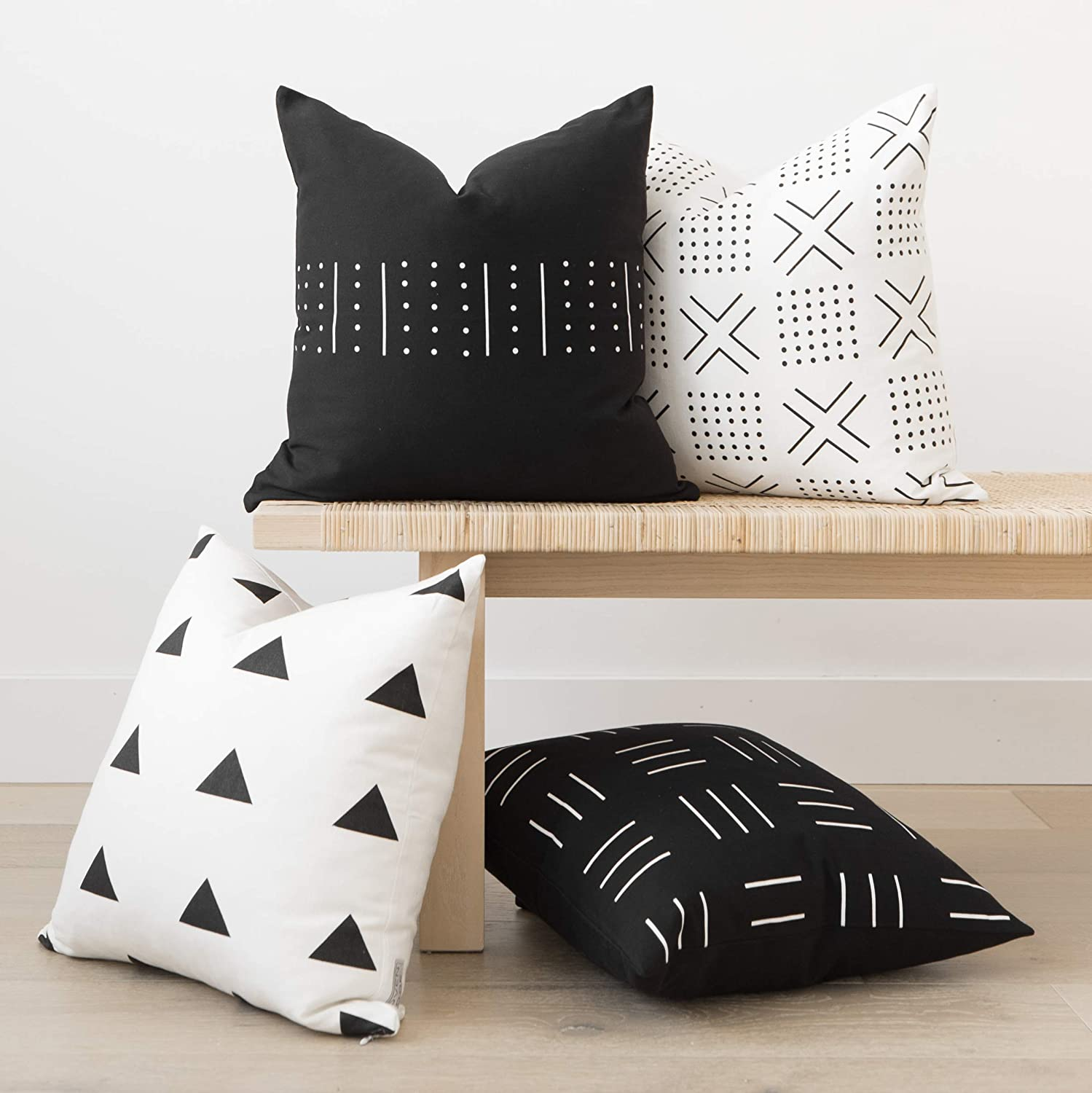 18x18 Inches 100/% Cotton Canvas Zola Set Woven Nook Decorative Throw Pillow Covers Pack of 4