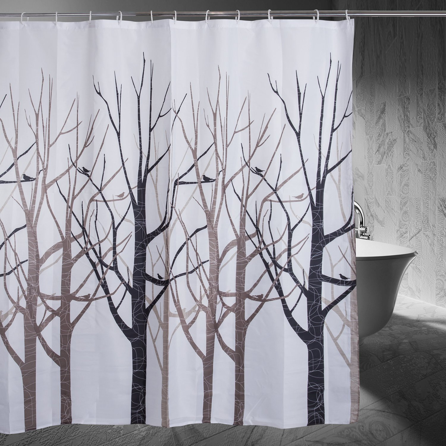 Amazon Moldiy Shower Curtain Tree Design Forest Fabric Shower