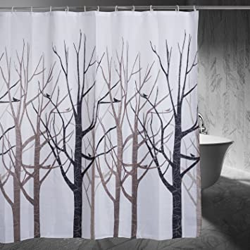 Amazoncom Moldiy Shower Curtain Tree Design Forest Fabric Shower