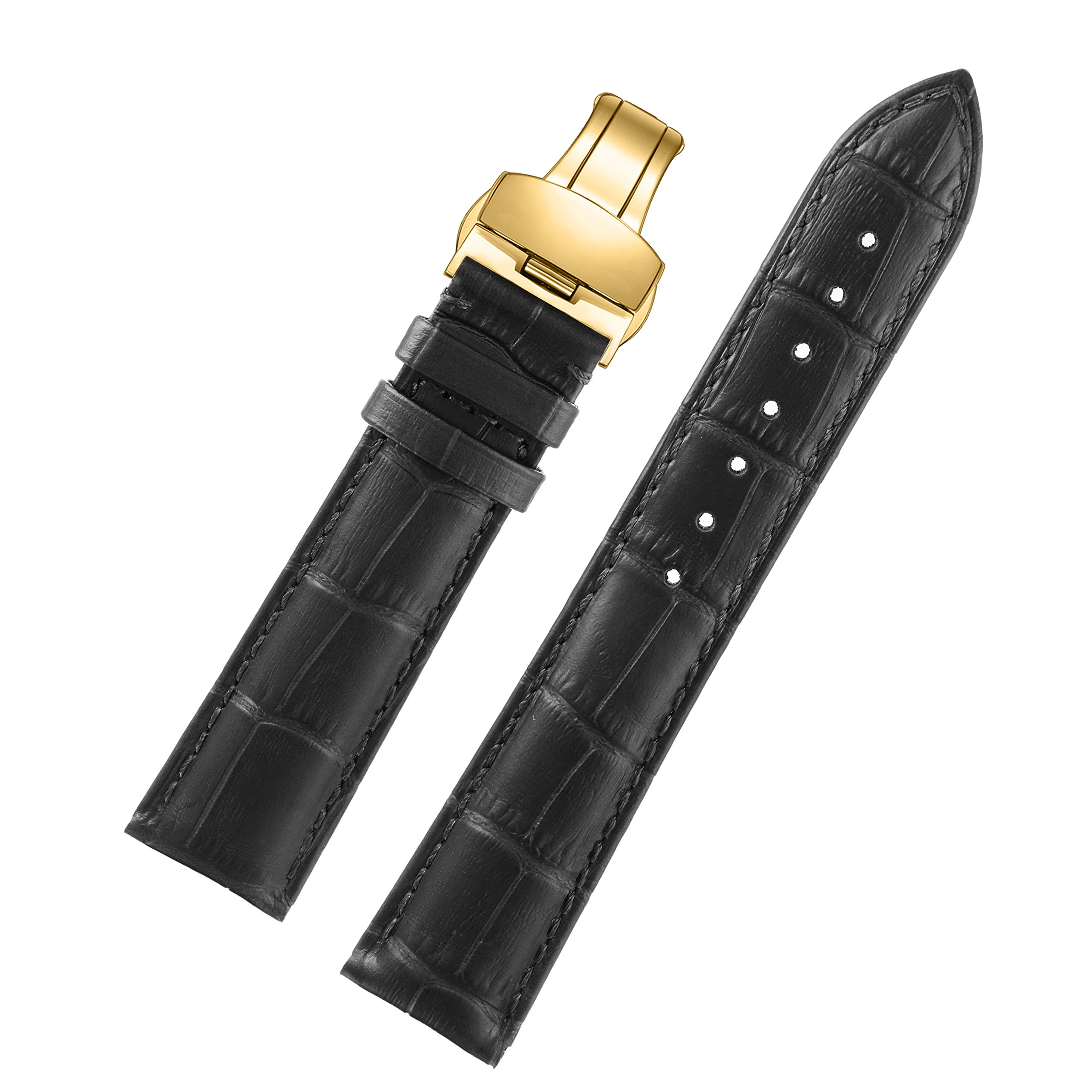 24mm Black Luxury Business Wide Men's Watches Leather Strap Watch Bands Gold Folding Clasp Natural Calfskin