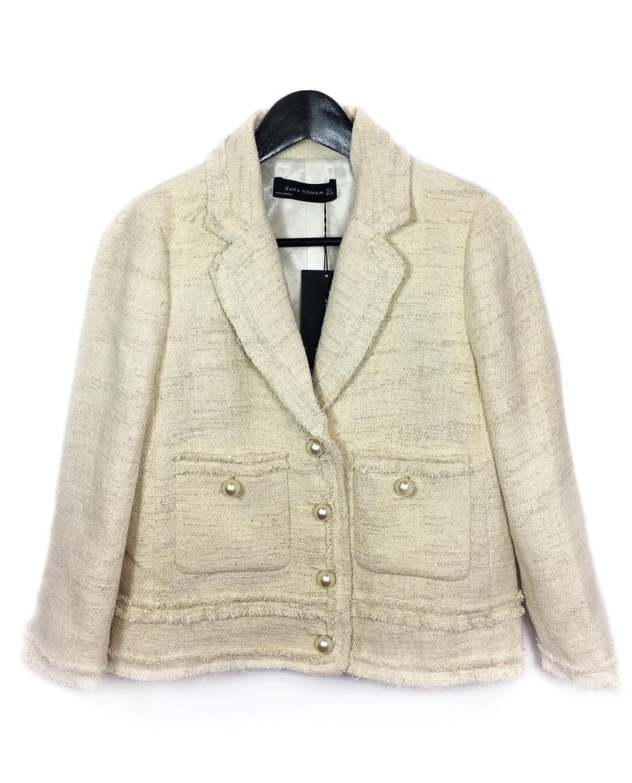 Zara - Chaqueta - para mujer beige beige Medium: Amazon.es ...