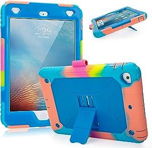 iPad Mini 2 Case iPad Mini 3 Case iPad Mini Case for Kids Heavy Duty Full-Body Rugged Protective iPad Case with Kickstand Pencil Holder for iPad Mini 1,2,3 (Ice/Blue)