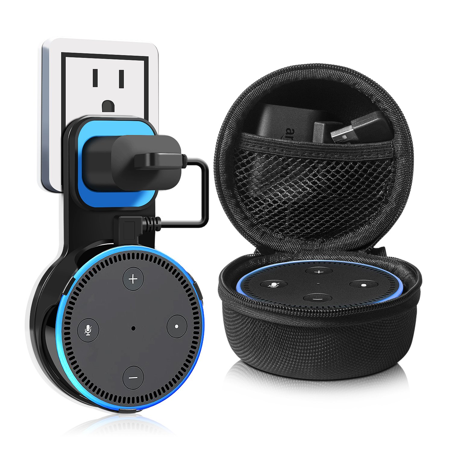 Kupton Wall Mount for Echo Dot 2, Outlet Wall Mount Hanger Holder Stand Clip & Protective Carrying Storage Case Accessories for Echo Dot 2nd Generation Without Messy Wires or Screws – Black by Kupton (Image #1)