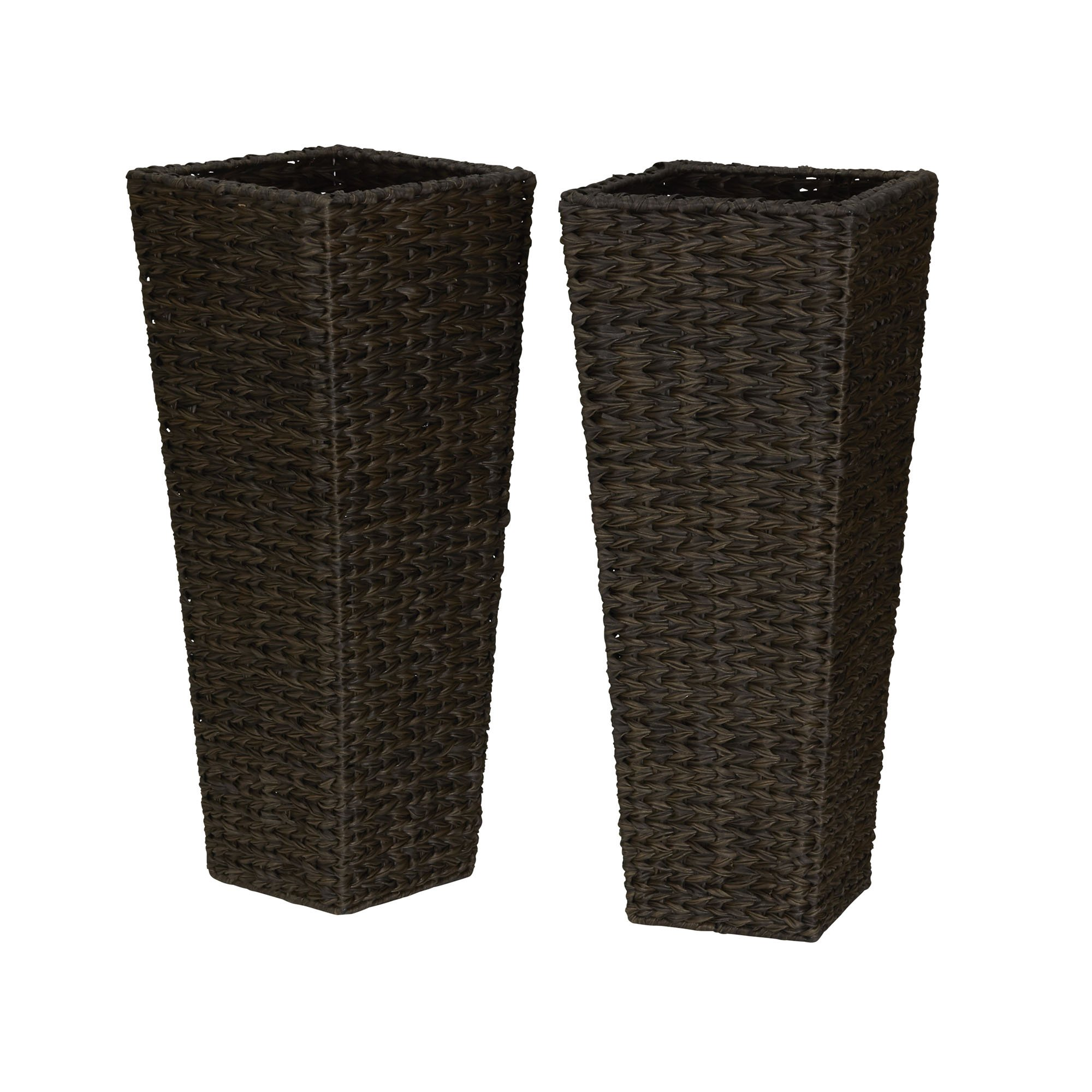 Household Essentials ml-5018 Resin Wicker Floor Vase Planters, 2 Piece by Household Essentials