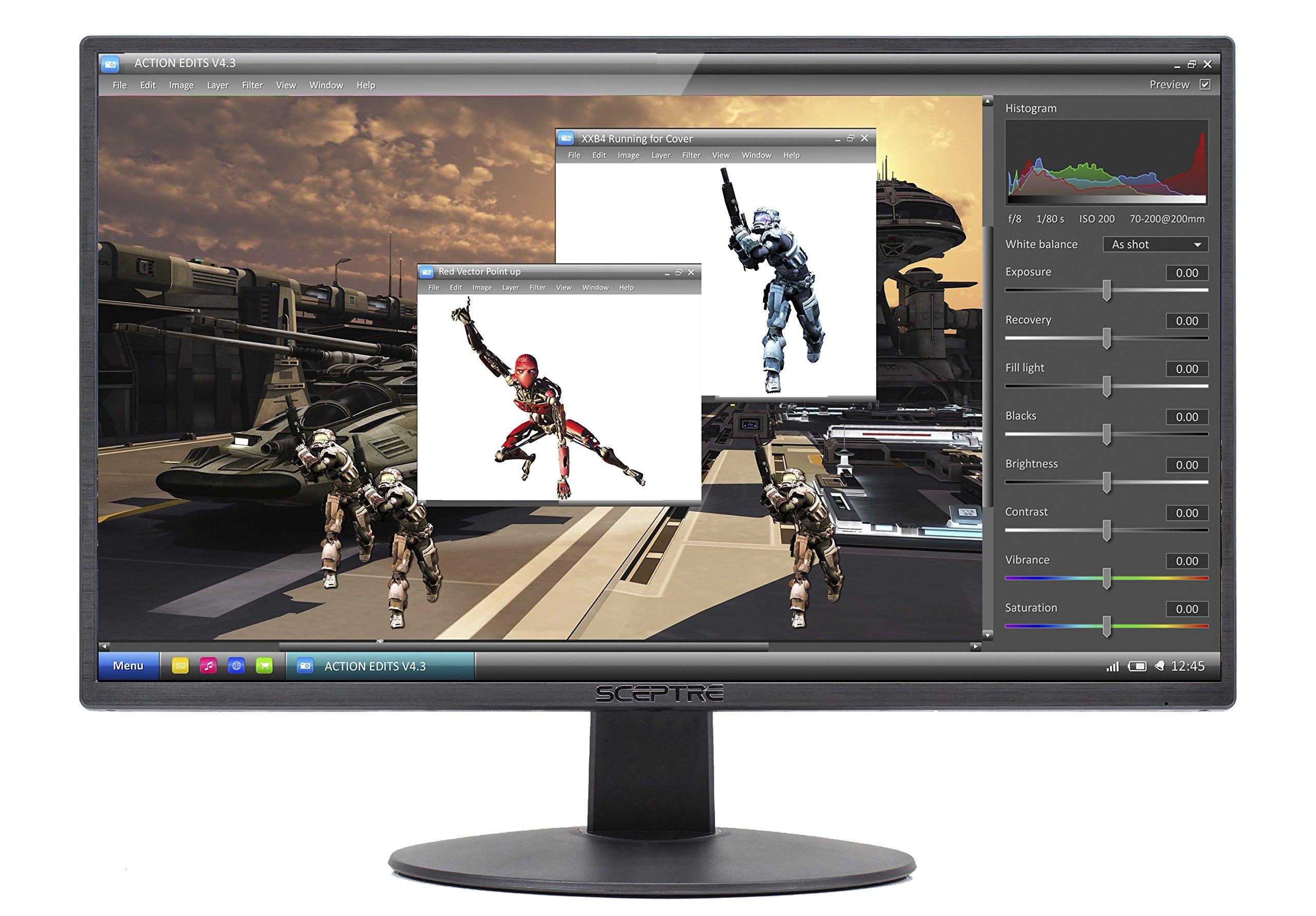Sceptre E205W-1600 20'' 75Hz Ultra Thin LED Monitor HDMI VGA Build-in Speakers, Metallic Black (2018 version)
