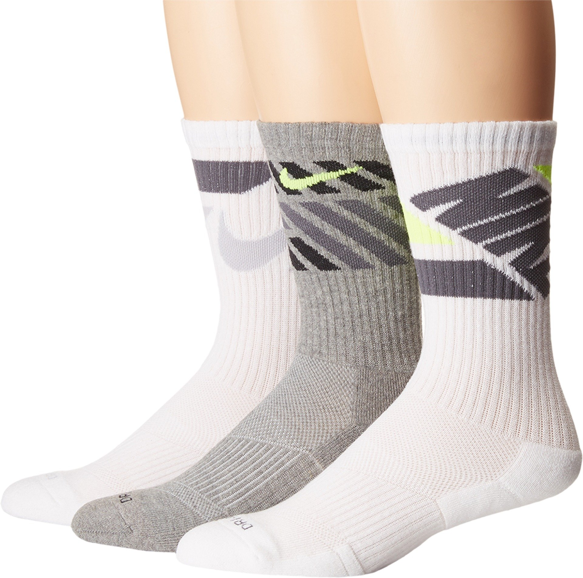 Nike 3PK DRI-FIT Cushion Crew Socks - Men's Large(8-12) (Multicolor 2) by Nike