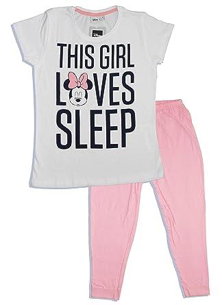 Disney Minnie-mouse - Pijama - para Mujer Blanco Blanco M: Amazon ...