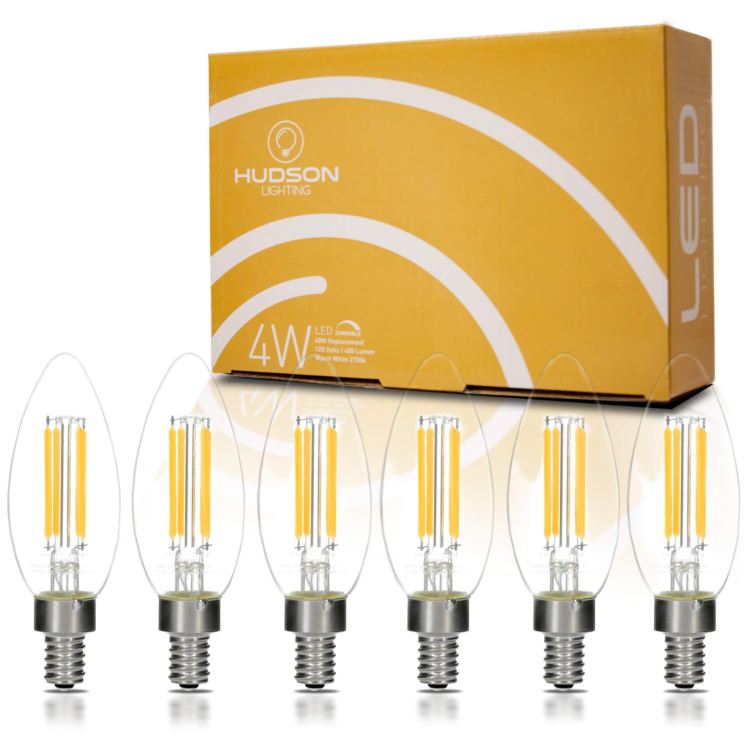 Dimmable LED Candelabra Light Bulbs: 4 Watt, 2700K Teardrop Lightbulbs for Indoor Lamp, Chandelier, Ceiling Fan or Outdoor Porch Lights - 400 Lumen Warm White Retro Filament Lightbulb Set - 6 Pack