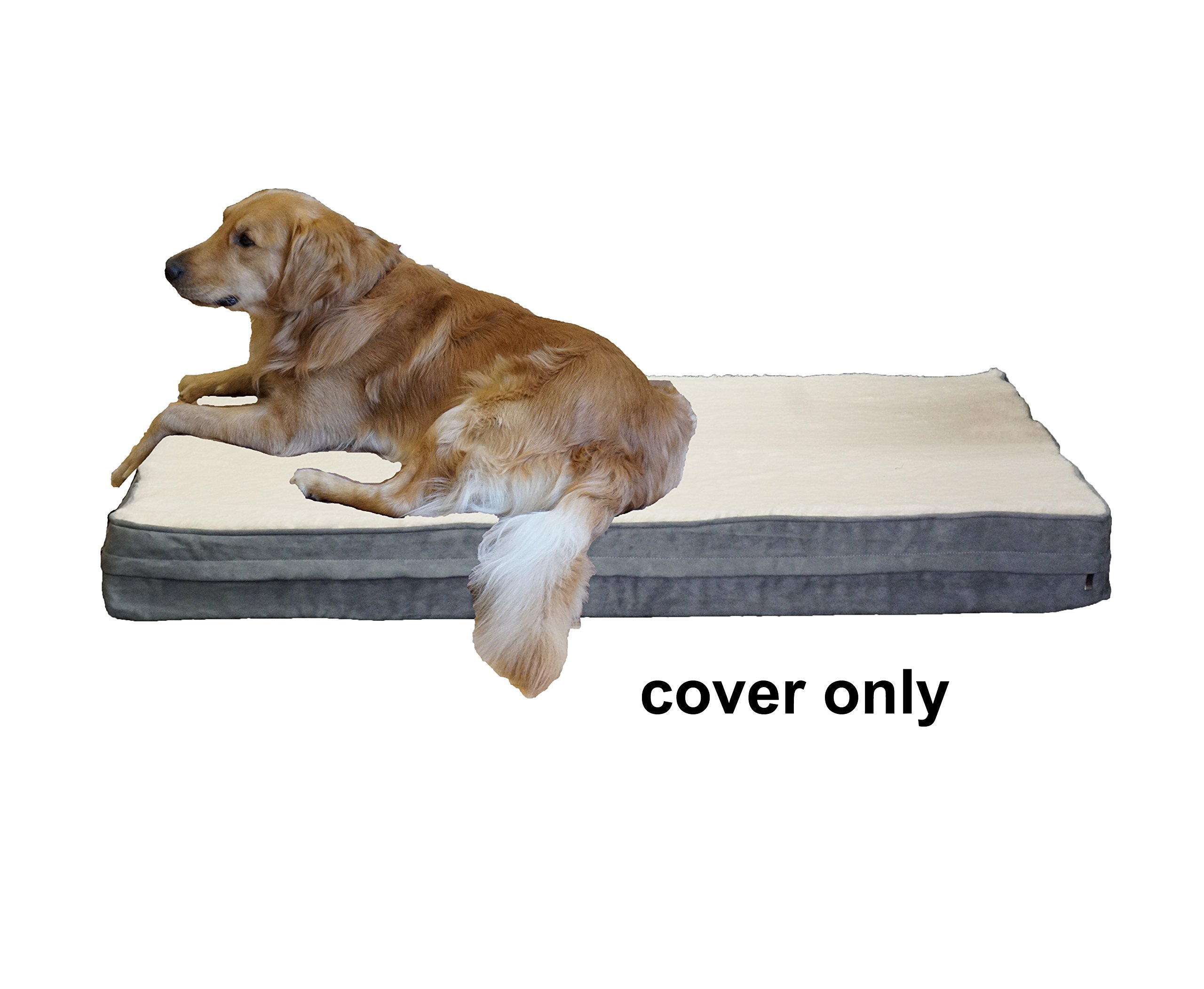 PetBed4Less Cream Color Super Soft Fleece Plush Top Pet Bed Dog Bed Zipper Cover Small, Medium to Super Large - 8 sizes - Replacement Zipper Cover only (37''x27''x4'', Gray)