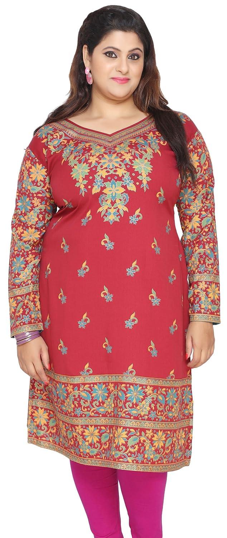 Maple Clothing Women's Plus Size Dress Indian Tunics Kurti Long Top Eplus109p