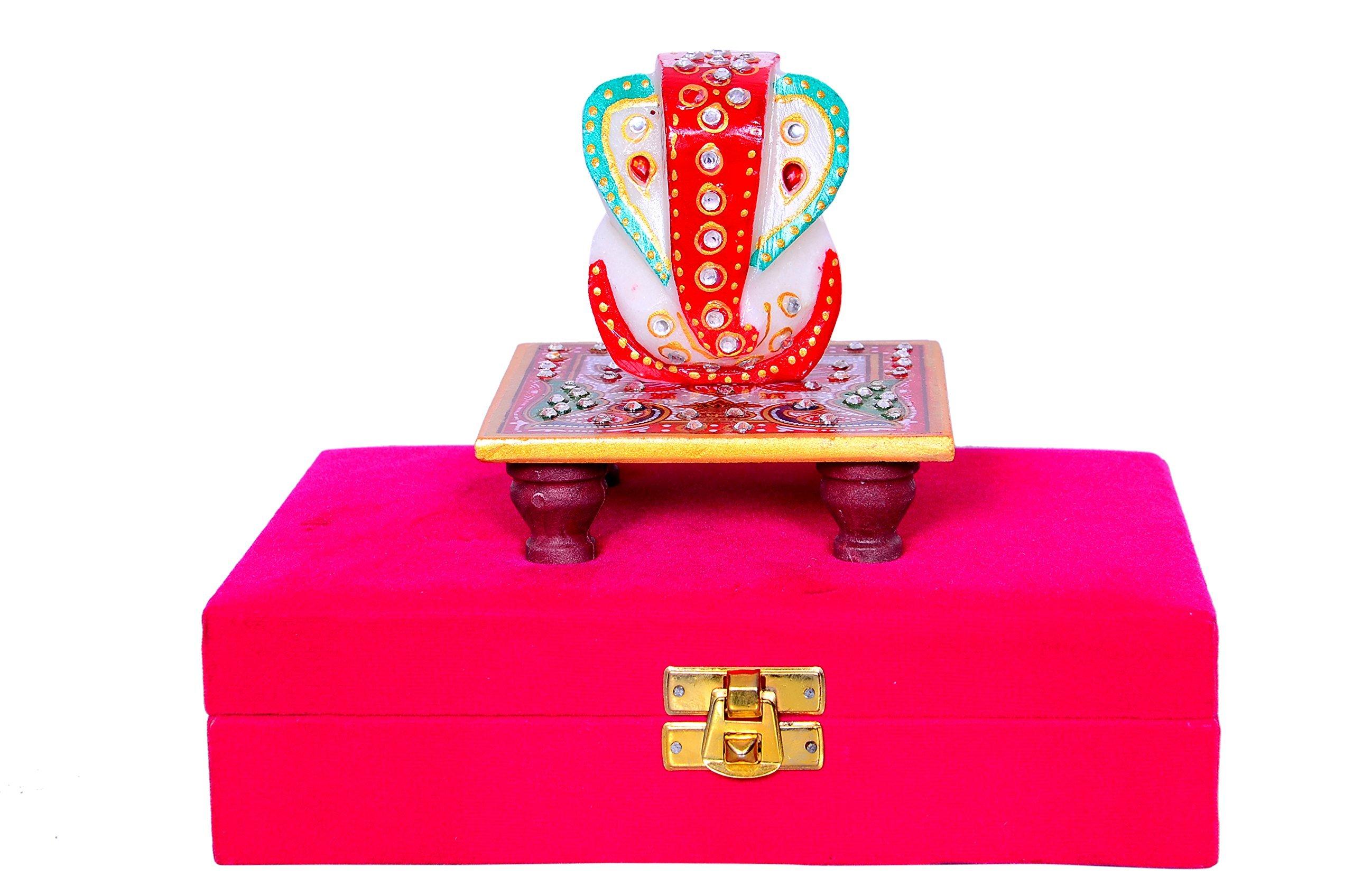 Gift Hamper 'India Traditions': Marble Ganesha (Ganapathi, Ganesh Or Vinayak) Statue In Velvet Box