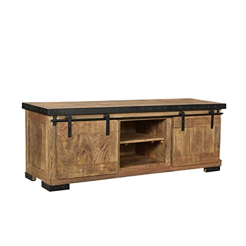 Christopher Knight Home Madge Modern Industrial Mango Wood TV Stand, Natural Finish, Black