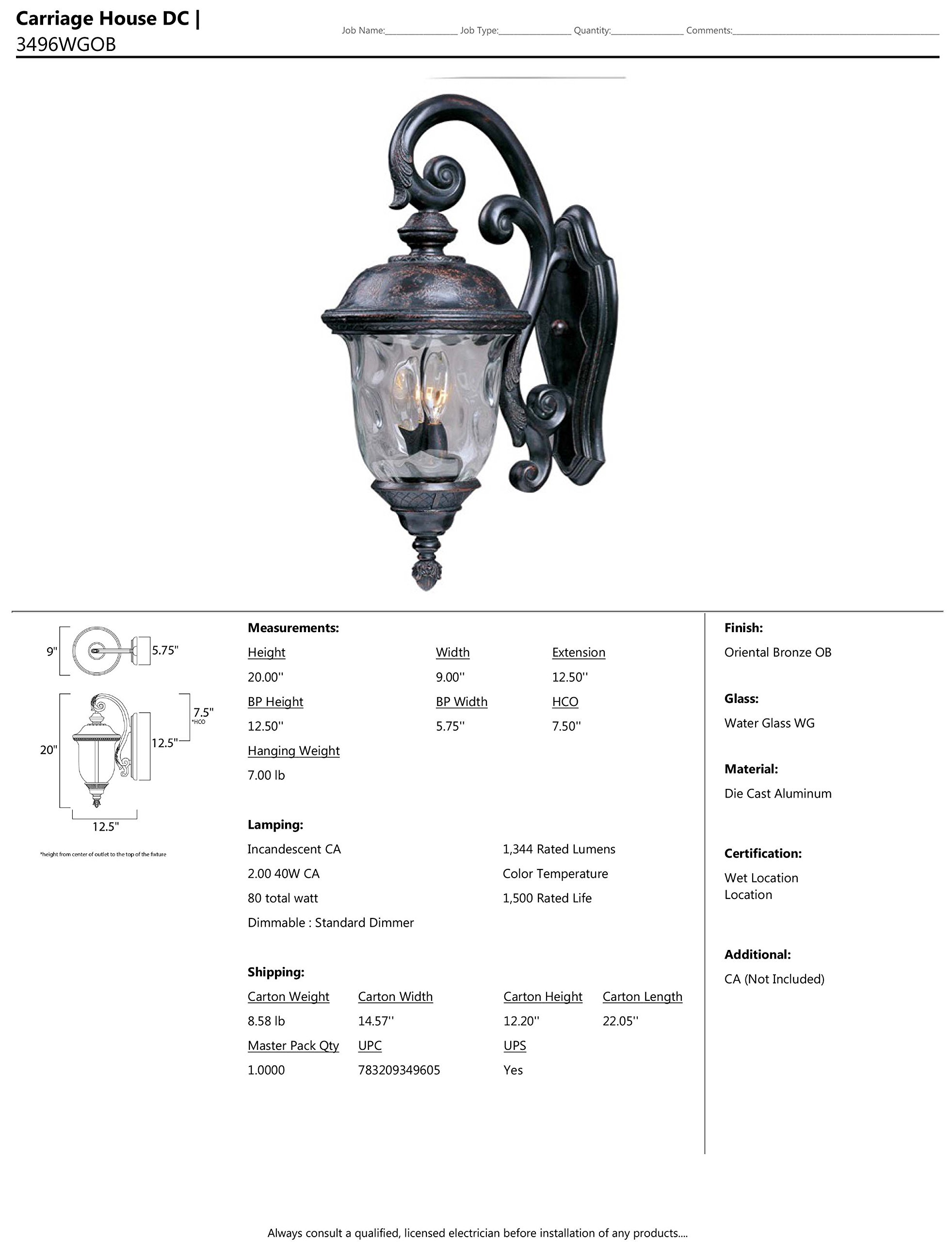 Maxim Lighting 3496WGOB Carriage House DC 2-Light Top Mount Outdoor 20-Inch Wall Lantern, Oriental Bronze Finish - Finish: oriental Bronze Glass finish: water glass Bulb Type: Ca incandescent - patio, outdoor-lights, outdoor-decor - 81Qc4l2q6dL -